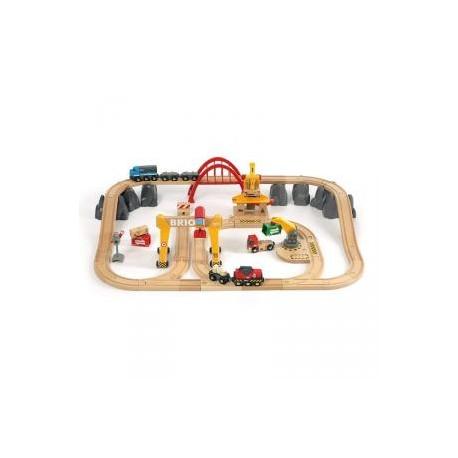 Circuito tren de carga eléctrico con grúas 54 piezas